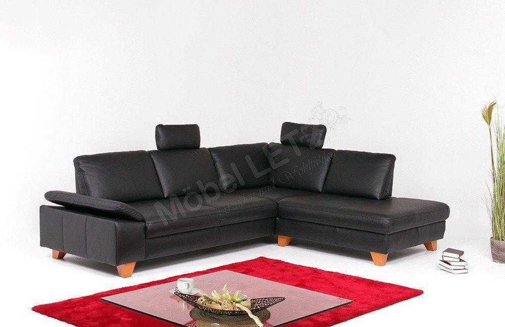 Ledercouch schwarz kaufen  DFM Aspen Ledercouch schwarz| Möbel Letz - Ihr Online-Shop