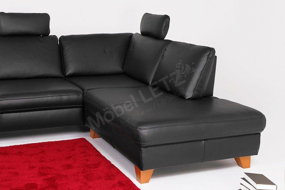 Ledercouch schwarz  DFM Aspen Ledercouch schwarz| Möbel Letz - Ihr Online-Shop