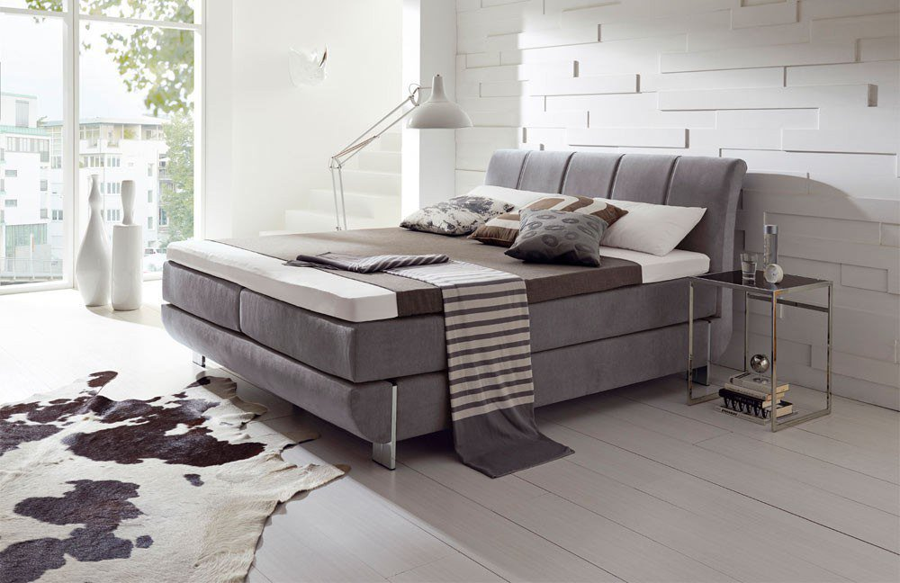 hapo boxspringbett ronda in grau m bel letz ihr online shop. Black Bedroom Furniture Sets. Home Design Ideas