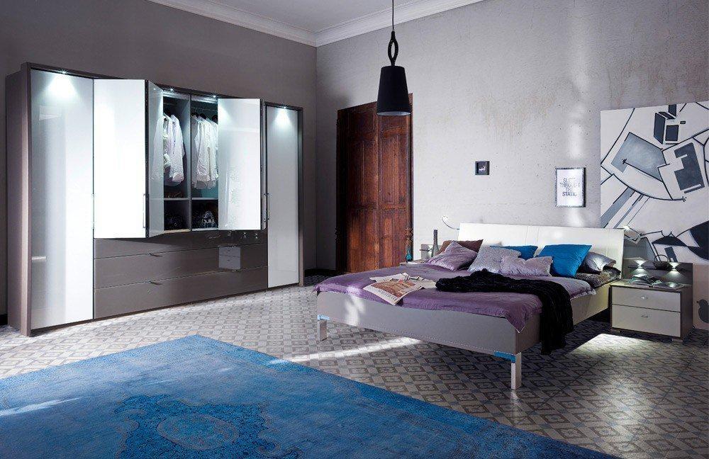 Canberra von Casada - Schlafzimmer havanna - Glas weiß