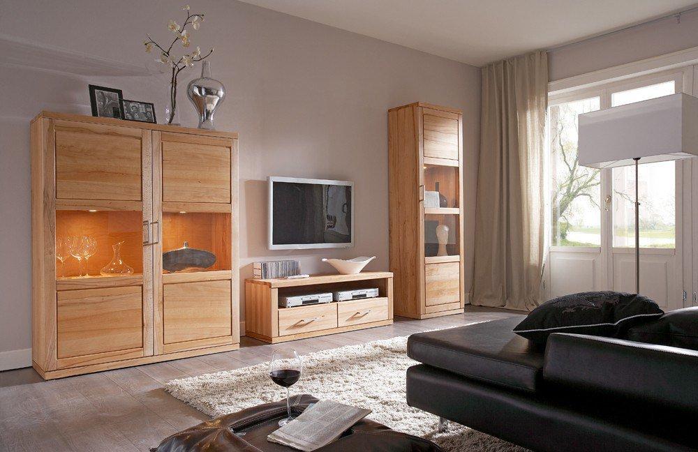 dudinger wohnwand bianca kernbuche ge lt m bel letz. Black Bedroom Furniture Sets. Home Design Ideas