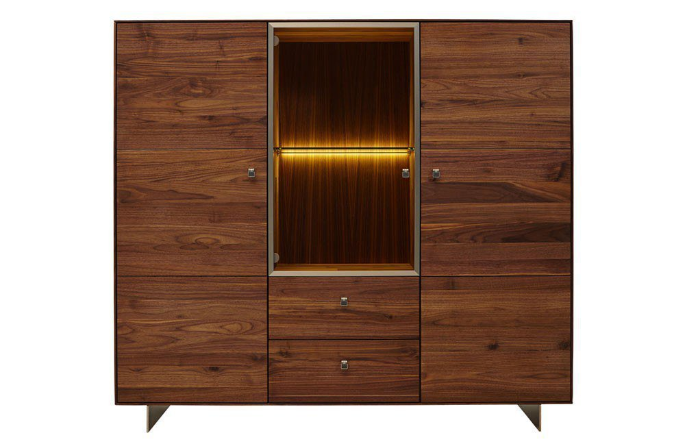 highboard solivaro rustikaler nussbaum ledergriffe von. Black Bedroom Furniture Sets. Home Design Ideas
