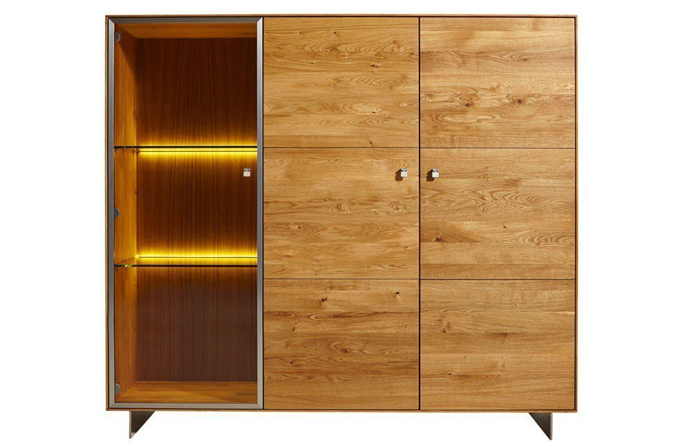 highboard solivaro rustikale asteiche ledergriffe von. Black Bedroom Furniture Sets. Home Design Ideas