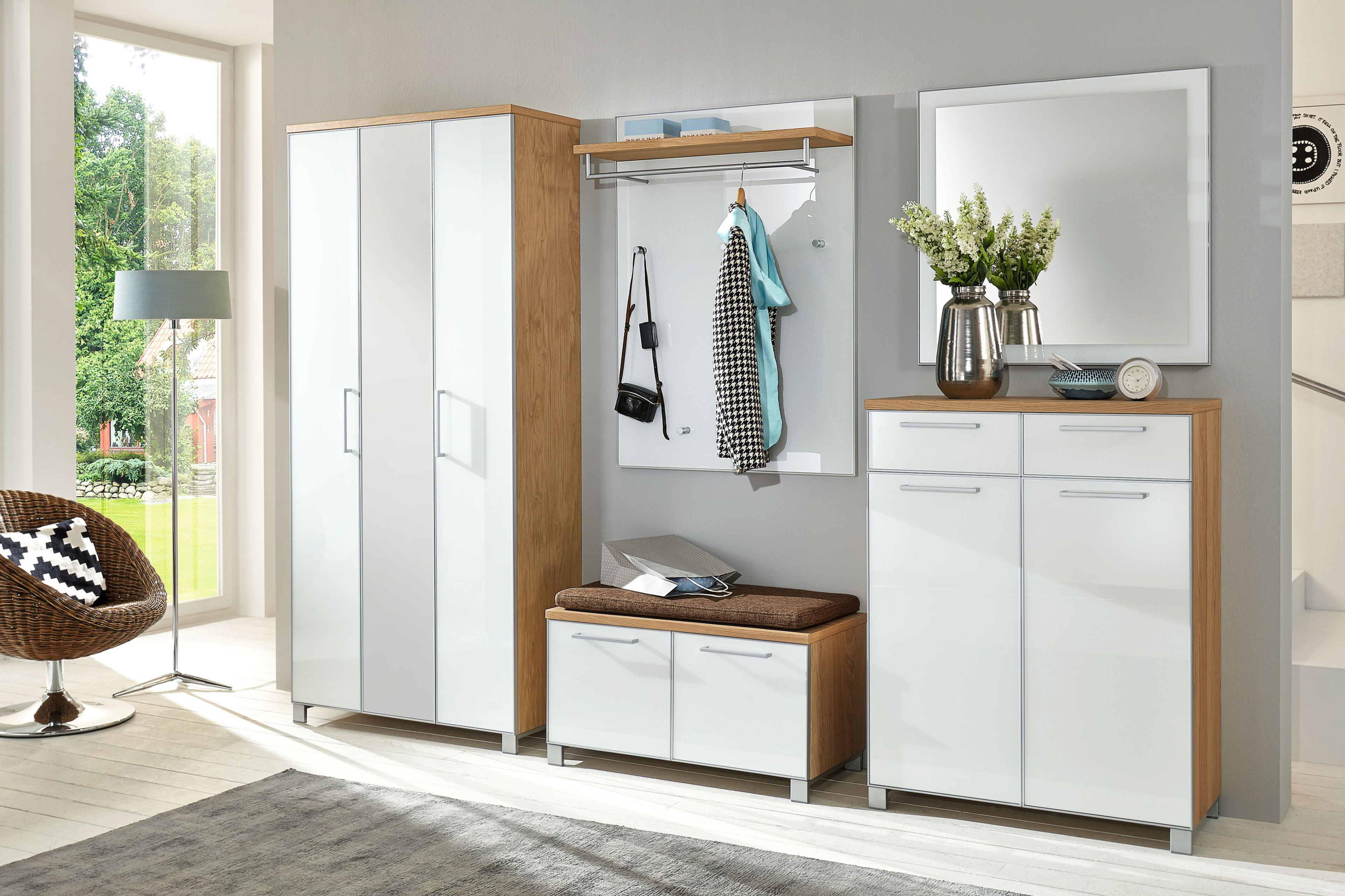 garderobe santina optiwei eiche bianco von voss m bel m bel letz ihr online shop. Black Bedroom Furniture Sets. Home Design Ideas