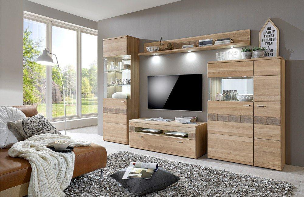 ideal m bel wohnwand miro 09 eiche bianco m bel letz. Black Bedroom Furniture Sets. Home Design Ideas