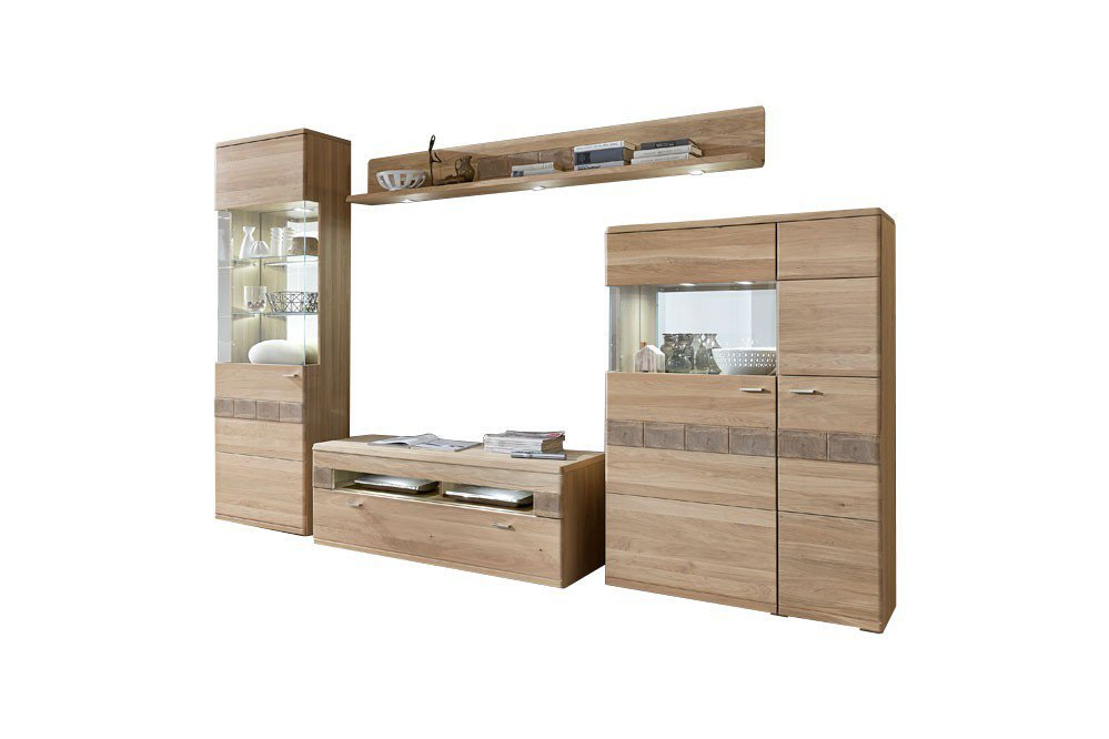 ideal m bel wohnwand miro 09 eiche bianco m bel letz. Black Bedroom Furniture Sets. Home Design Ideas