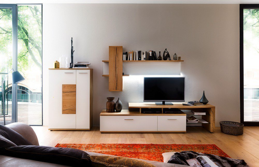 Wohnzimmermöbel weiß matt  Wohnwand II Nizza Crackeiche von MCA | Möbel Letz - Ihr Online-Shop