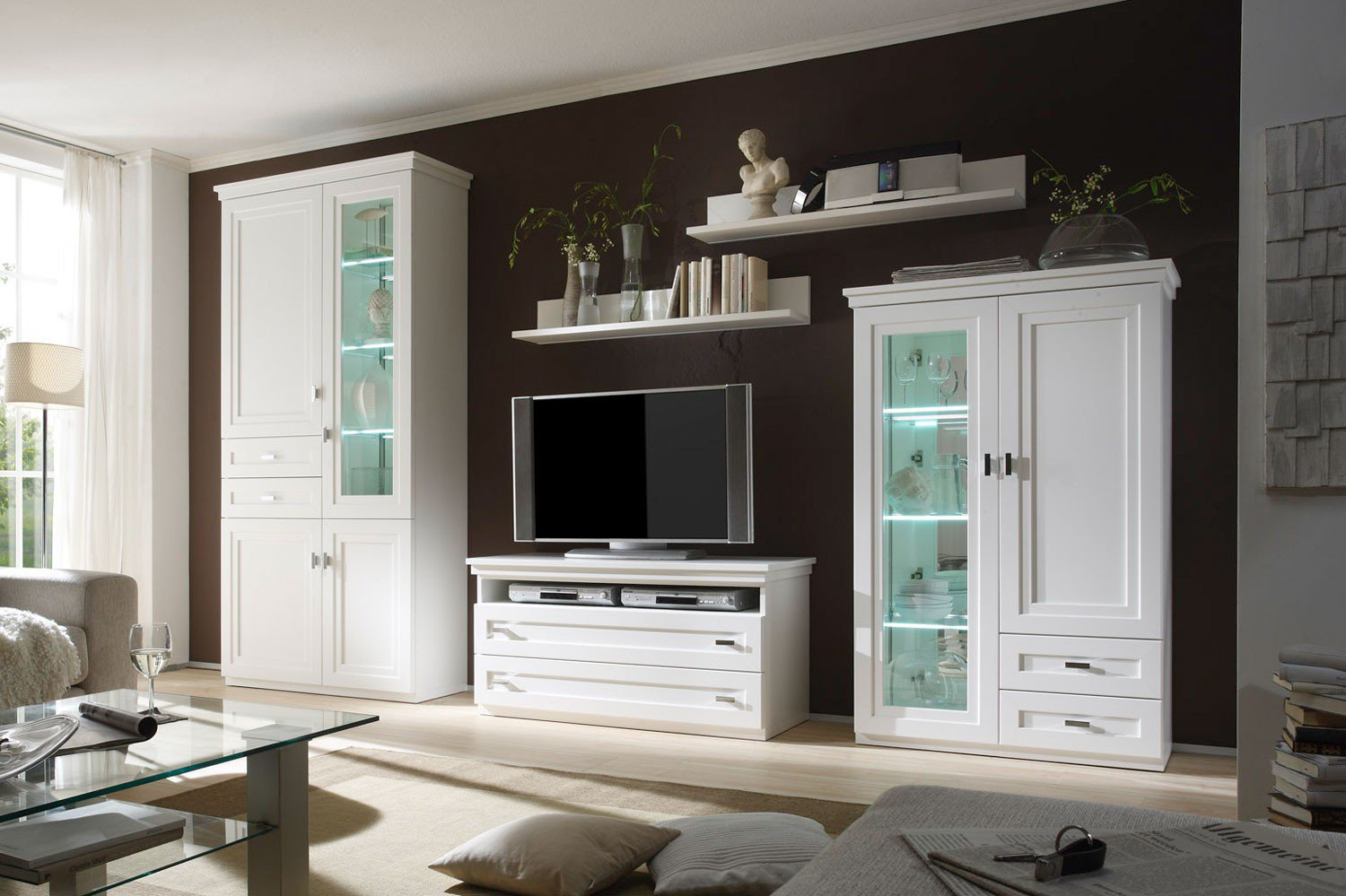 wehrsdorfer wohnwand kent ph 661 lack wei m bel letz ihr online shop. Black Bedroom Furniture Sets. Home Design Ideas
