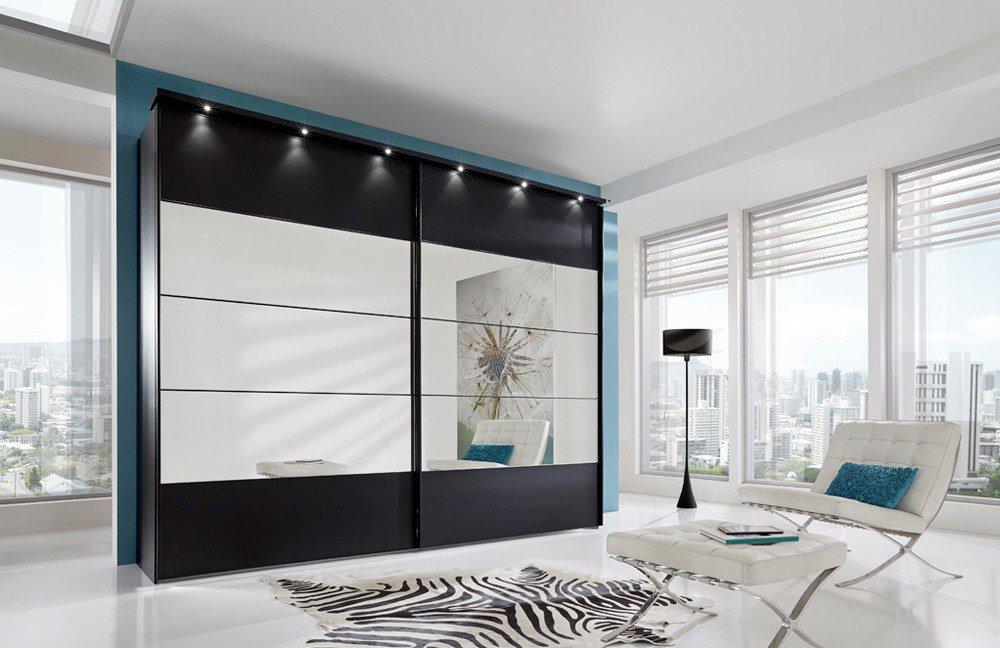 Schwebetürenschrank grau schwarz  Wiemann Sunset Schwarz-Dekor Spiegel | Möbel Letz - Ihr Online-Shop