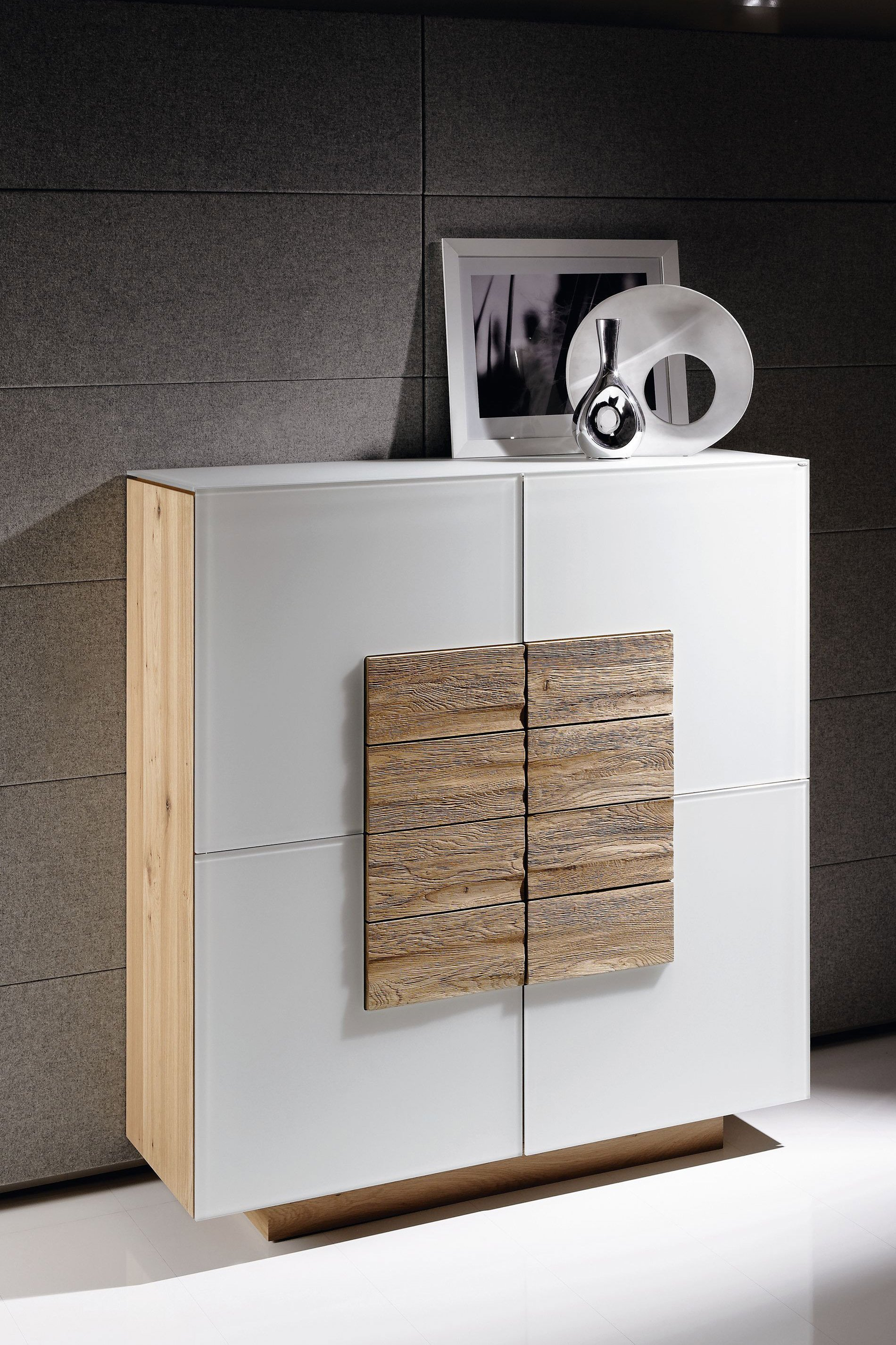 voglauer highboard v montana 128 wildeiche optiwhite. Black Bedroom Furniture Sets. Home Design Ideas