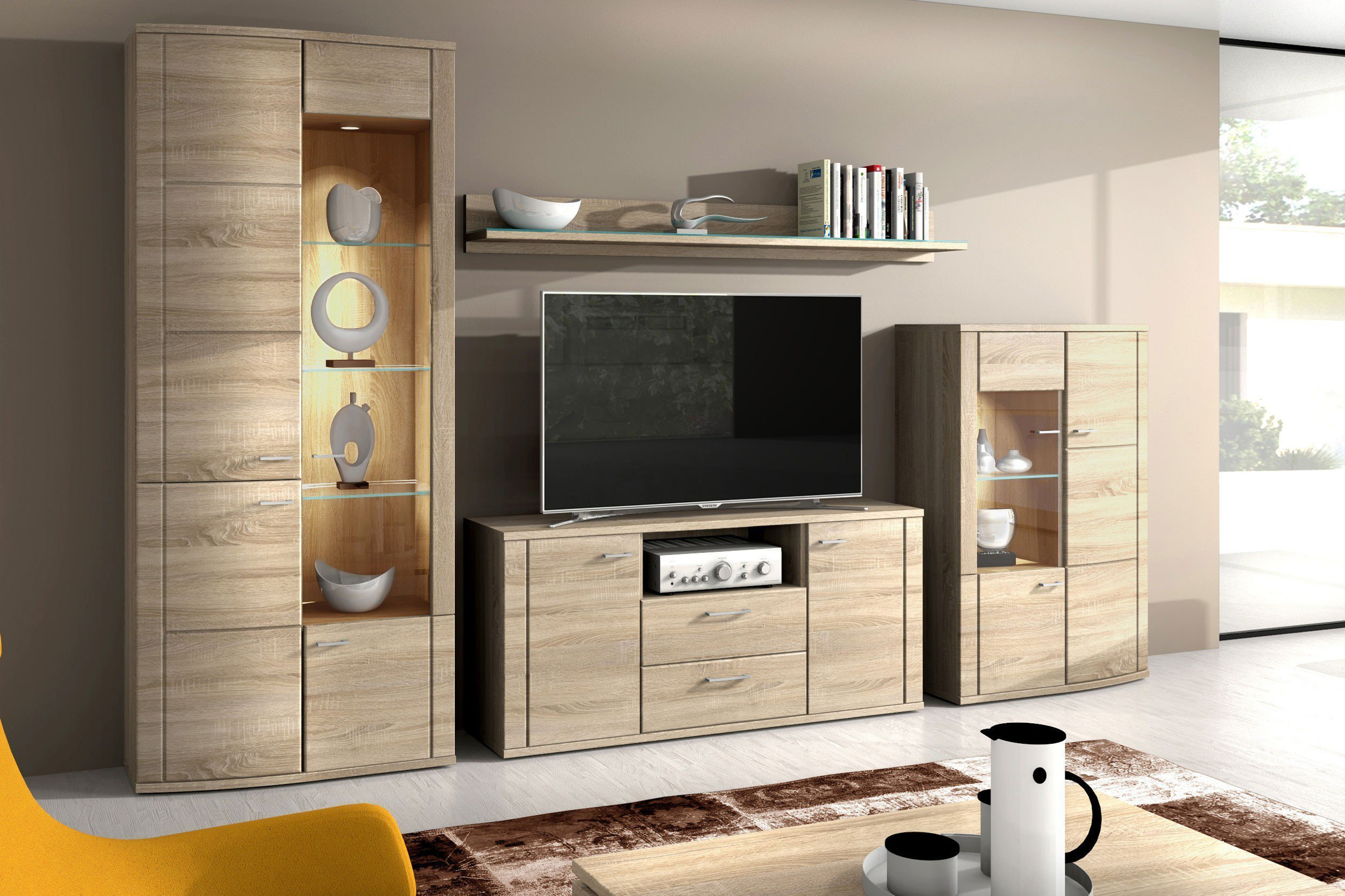 wohnwand siena 1830 sonoma eiche von rmi m bel m bel letz ihr online shop. Black Bedroom Furniture Sets. Home Design Ideas