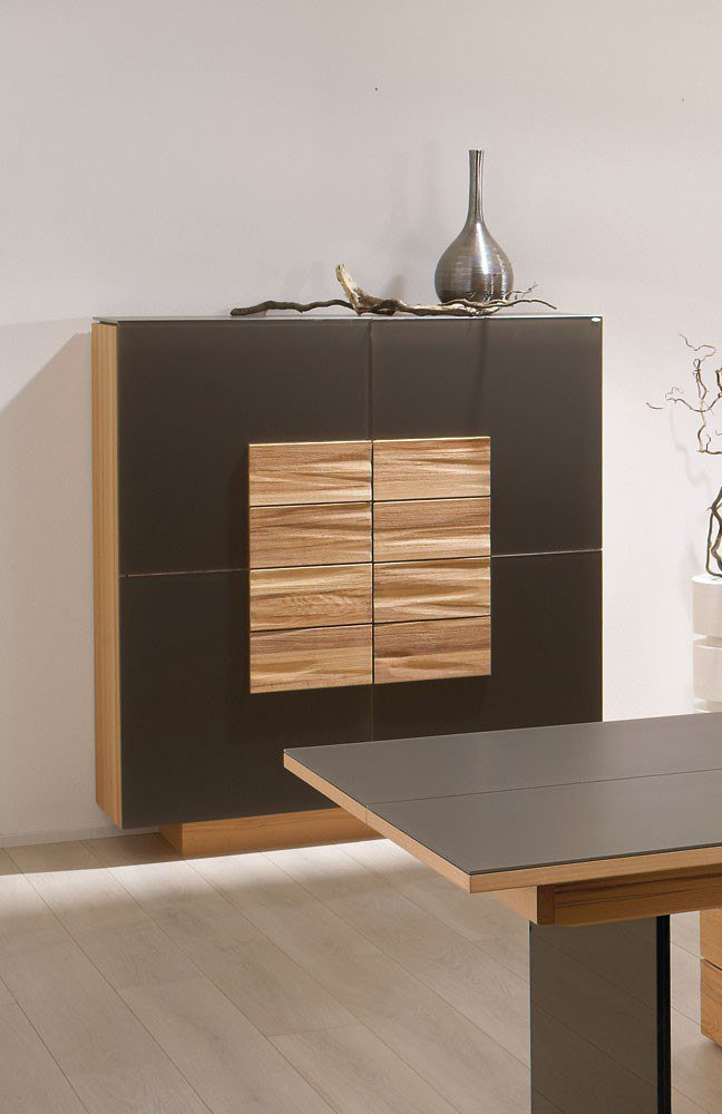 esszimmer v montana wildeiche leder schwarz von voglauer. Black Bedroom Furniture Sets. Home Design Ideas