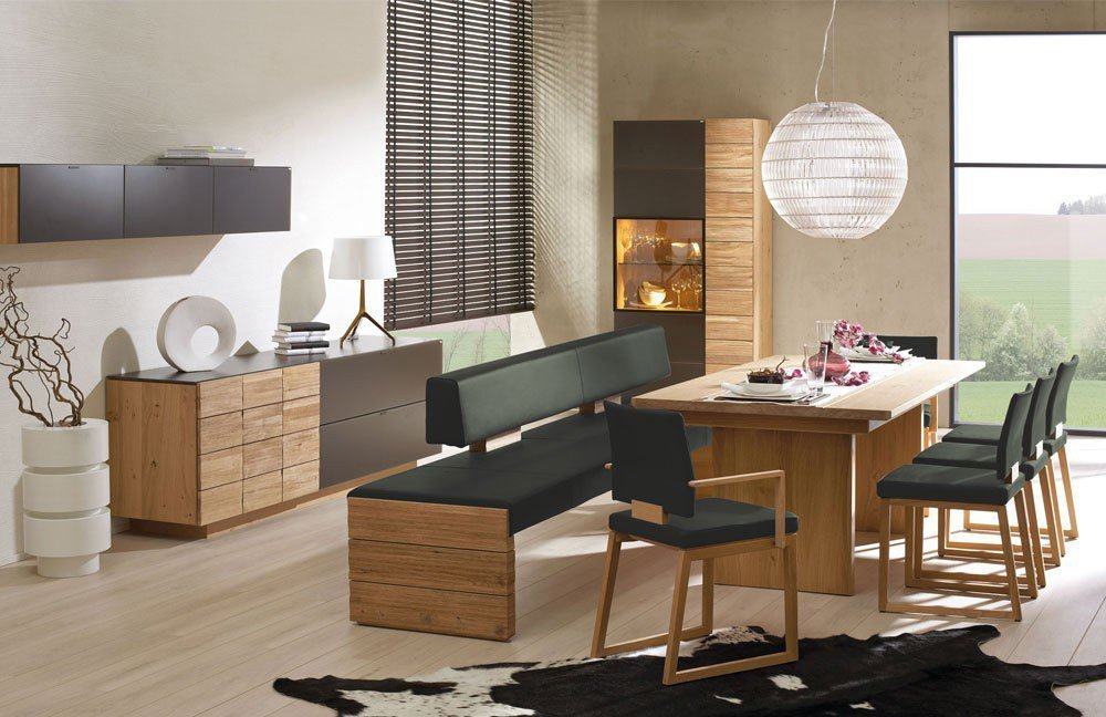 esszimmer v montana wildeiche leder army green von voglauer m bel letz ihr online shop. Black Bedroom Furniture Sets. Home Design Ideas