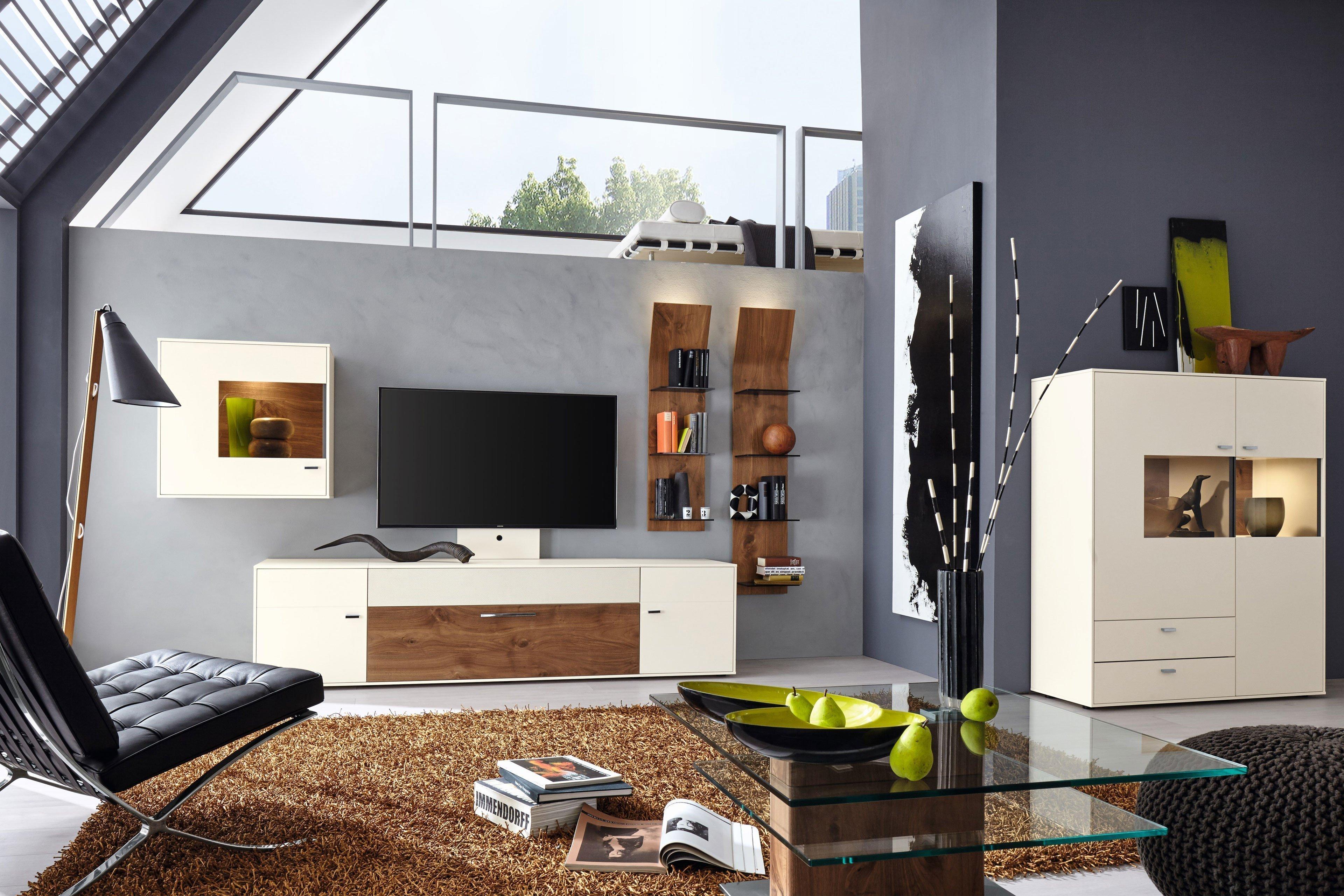 Gwinner wohnwand media concept mc910 m bel letz ihr online shop - Wohnzimmer weis nussbaum ...