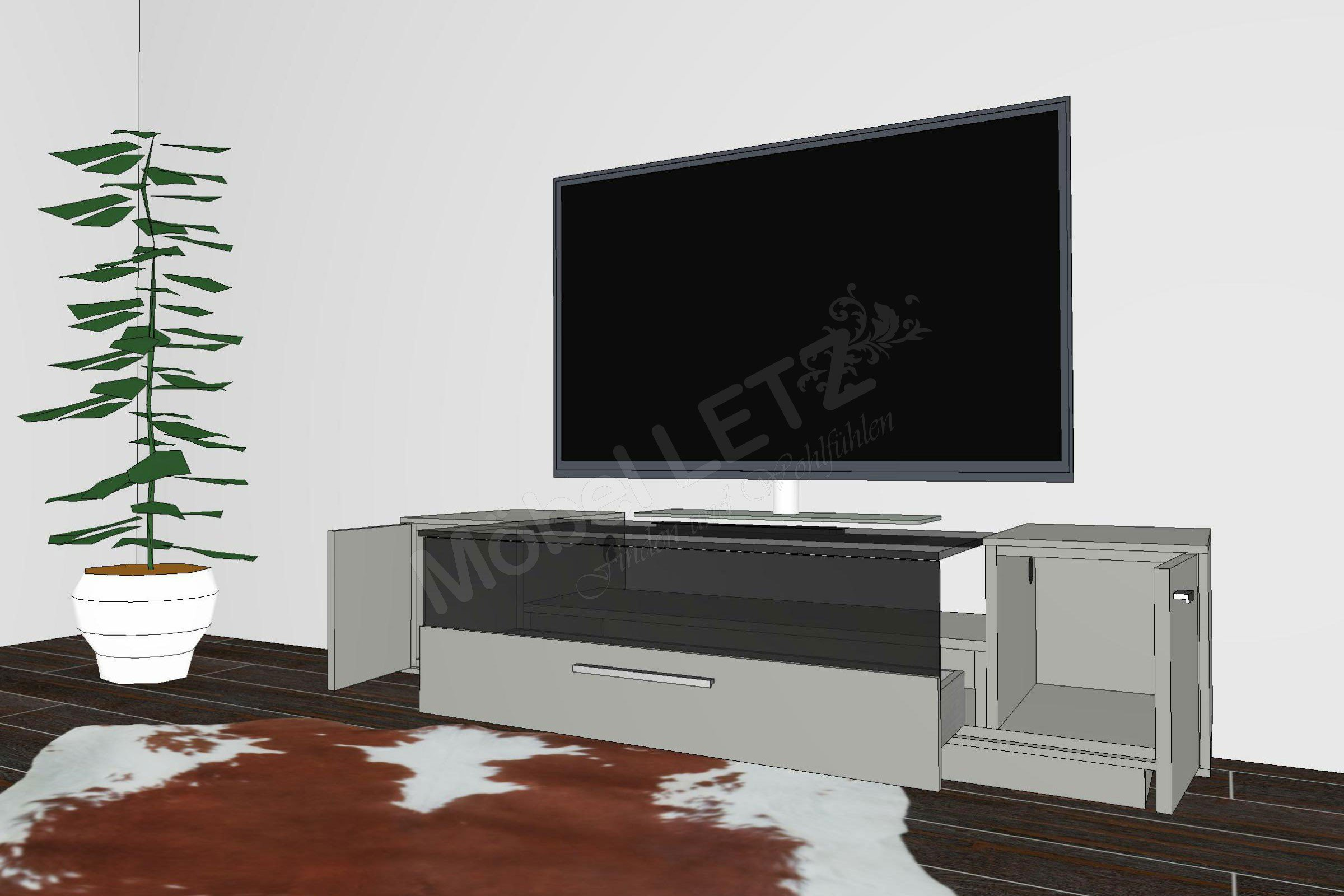 gwinner lowboard media concept lb2 4 fango m bel letz ihr online shop. Black Bedroom Furniture Sets. Home Design Ideas