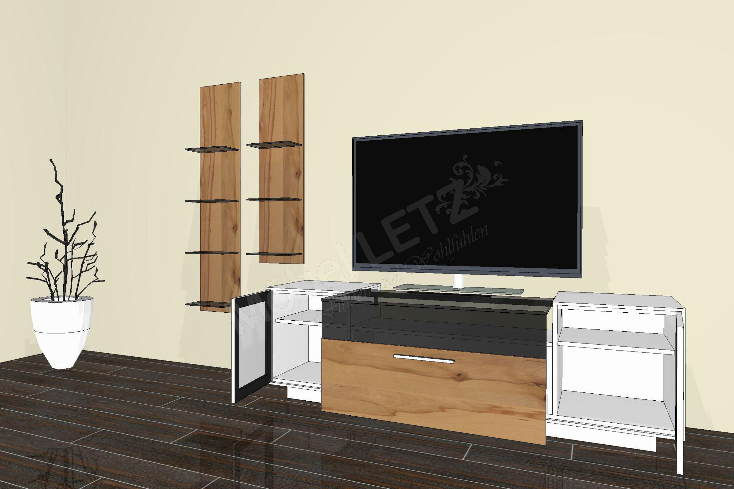 gwinner wohnwand media concept mc961 wei wildkernbuche. Black Bedroom Furniture Sets. Home Design Ideas