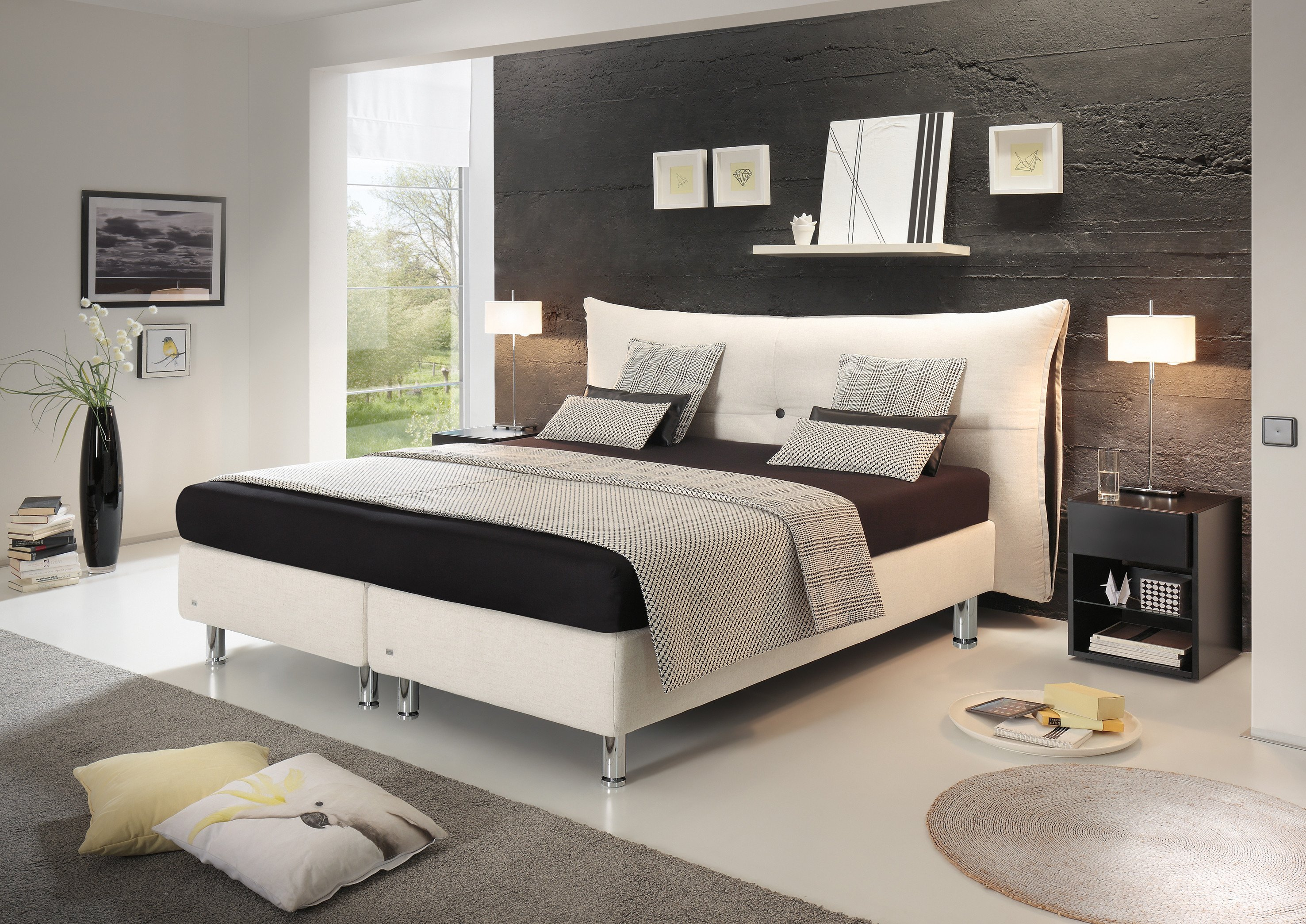 ruf santino boxspringbett in natur schwarz m bel letz. Black Bedroom Furniture Sets. Home Design Ideas
