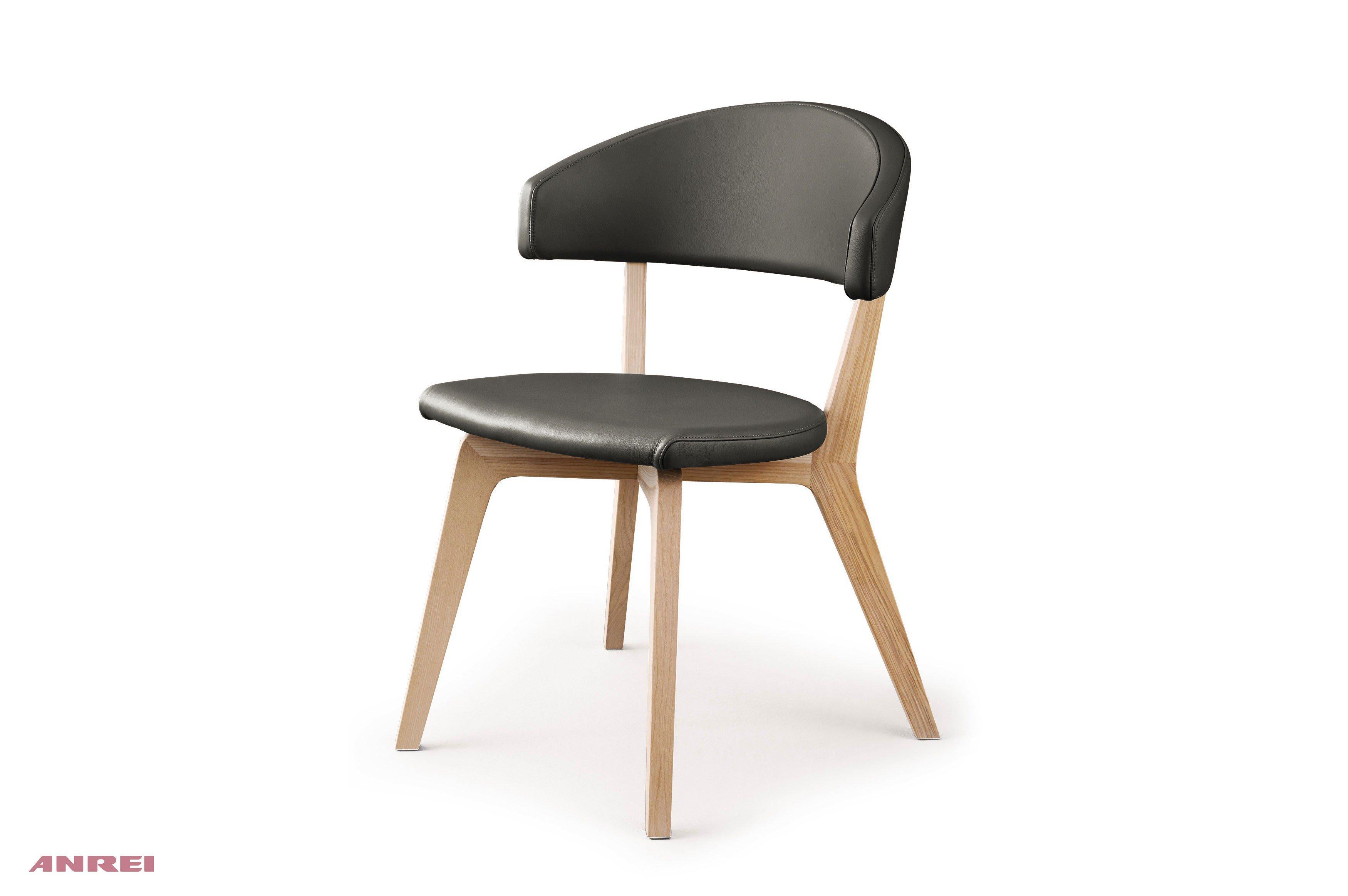 Stuhl 632 von ANREI 4 Fuß Stuhl Nubukleder Kernesche