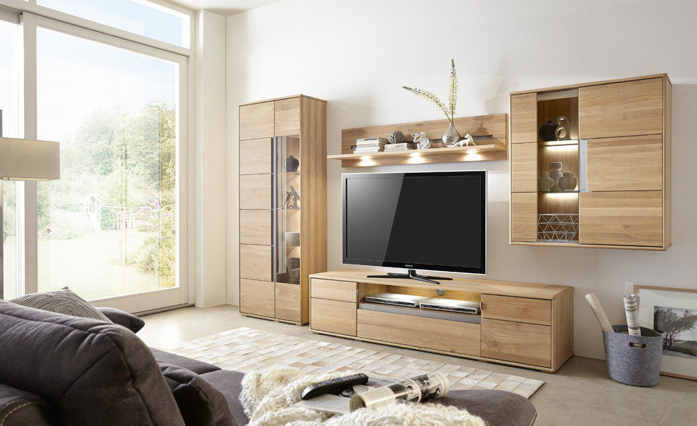 wohnwand laura 8 eiche bianco teilmassiv von ideal m bel. Black Bedroom Furniture Sets. Home Design Ideas