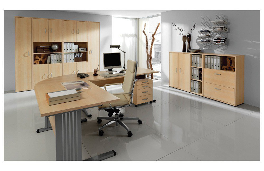 welle b ro combi 2 schreibtisch in ahorn m bel letz ihr online shop. Black Bedroom Furniture Sets. Home Design Ideas