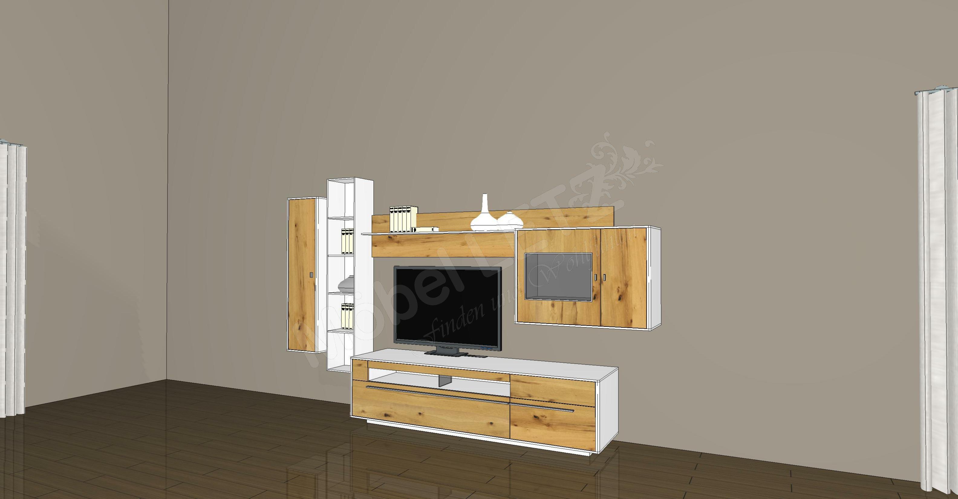 gwinner wohnwand piana pn2 wei balkeneiche m bel letz ihr online shop. Black Bedroom Furniture Sets. Home Design Ideas