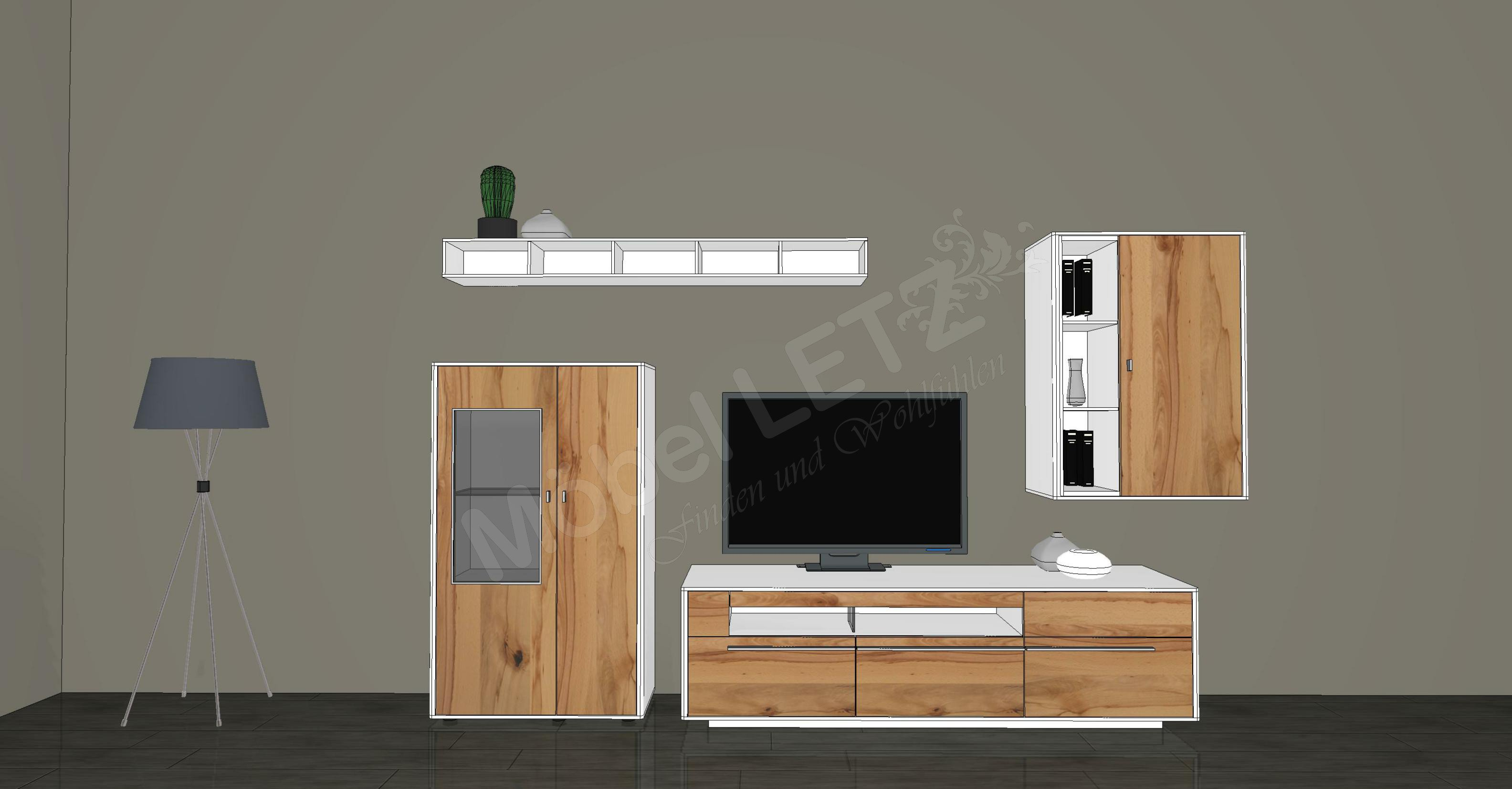 gwinner wohnwand piana pn6 wei wildkernbuche m bel letz ihr online shop. Black Bedroom Furniture Sets. Home Design Ideas