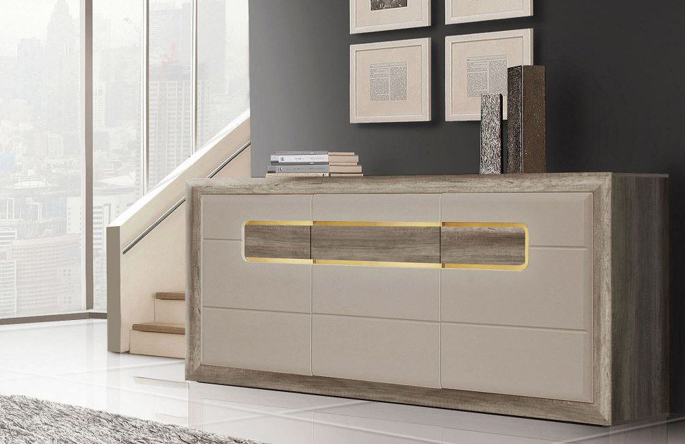 sideboard tiziano eiche antik beige hochglanz von forte. Black Bedroom Furniture Sets. Home Design Ideas