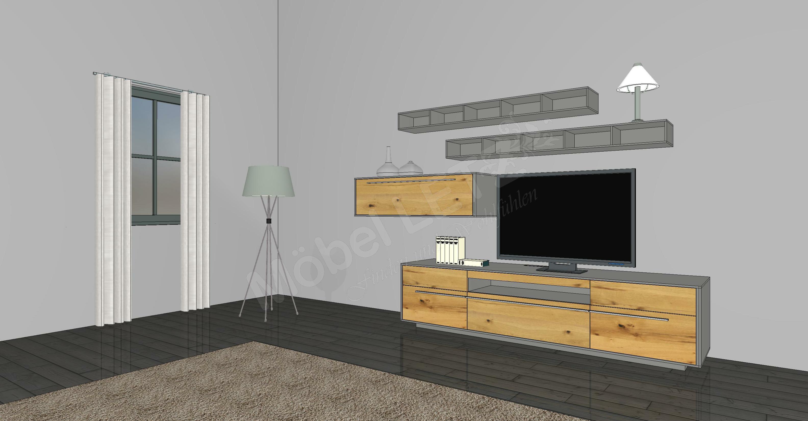 gwinner wohnwand piana pn7 taupe balkeneiche m bel letz ihr online shop. Black Bedroom Furniture Sets. Home Design Ideas