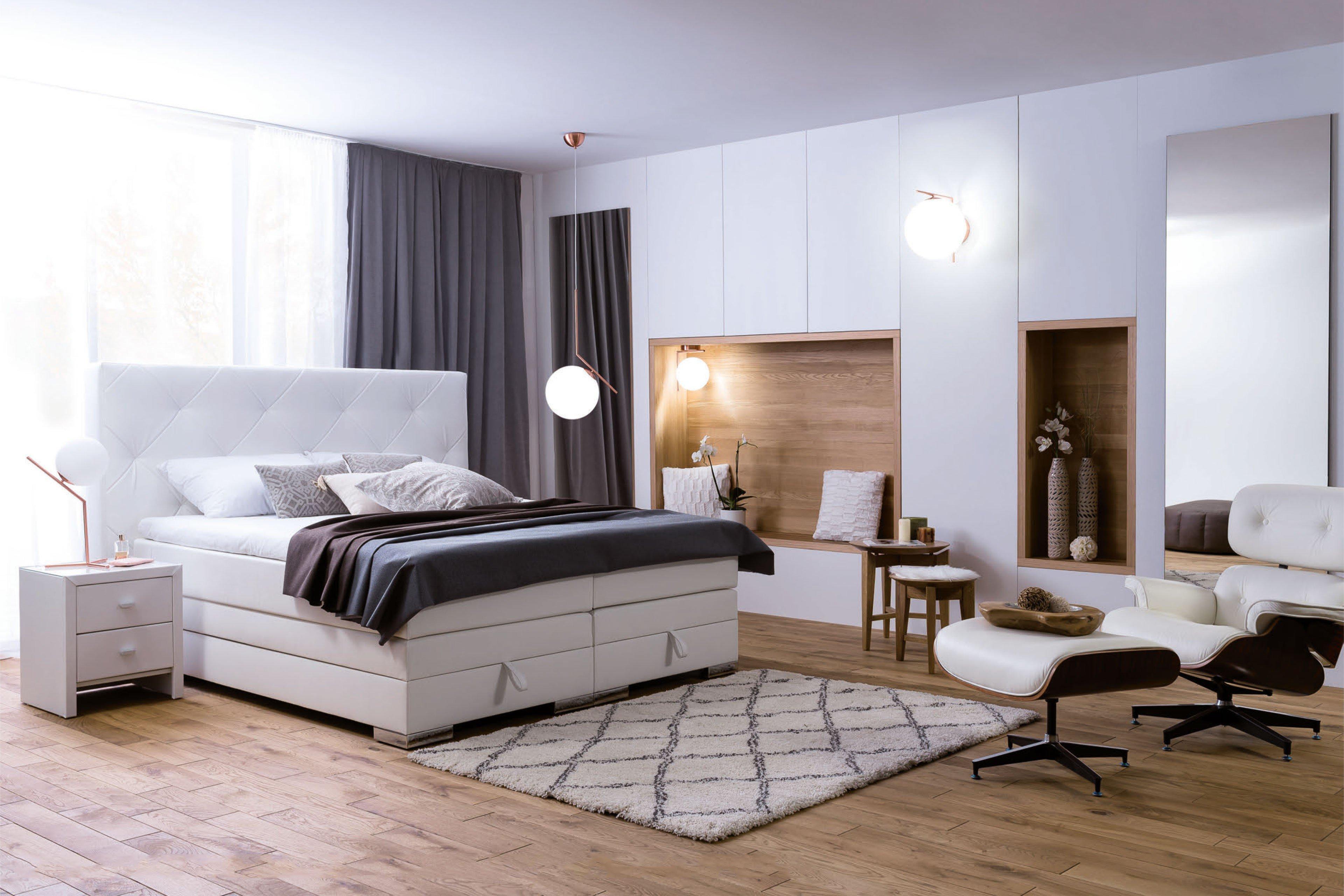 Boxspringbett weiß mit bettkasten  Dico Möbel BS9050 Boxspringbett in Weiß mit Bettkasten | Möbel Letz ...