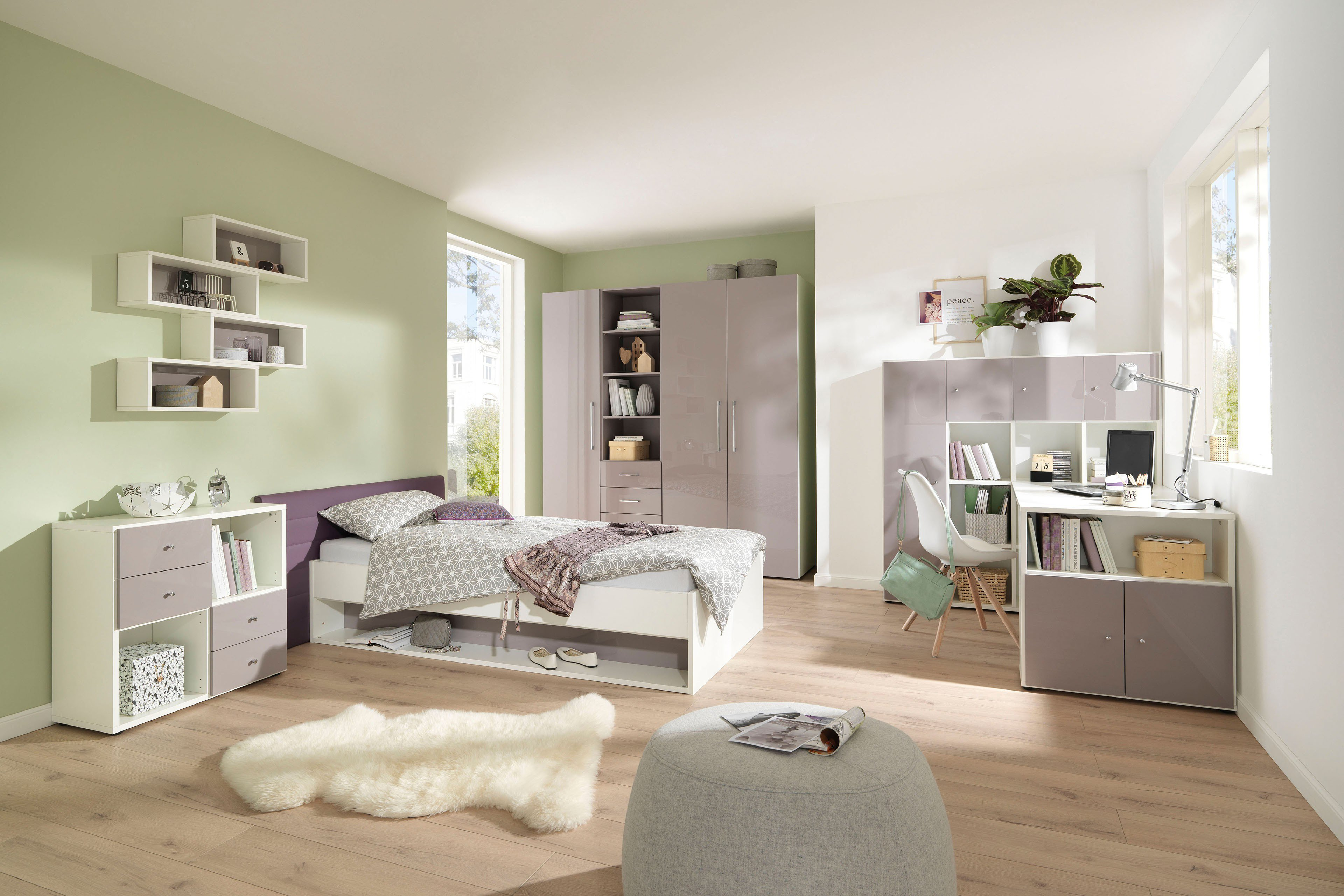 wellem bel jugendzimmer m bel wei lilac grey m bel letz ihr online shop. Black Bedroom Furniture Sets. Home Design Ideas