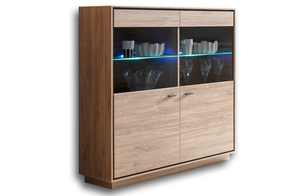 m usbacher highboard salinas 0639 2gl eiche lack schwarz matt m bel letz ihr online shop. Black Bedroom Furniture Sets. Home Design Ideas