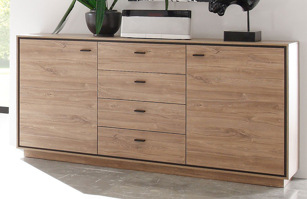 m usbacher sideboard salinas 0641 24 eiche stirling lack schwarz m bel letz ihr online shop. Black Bedroom Furniture Sets. Home Design Ideas