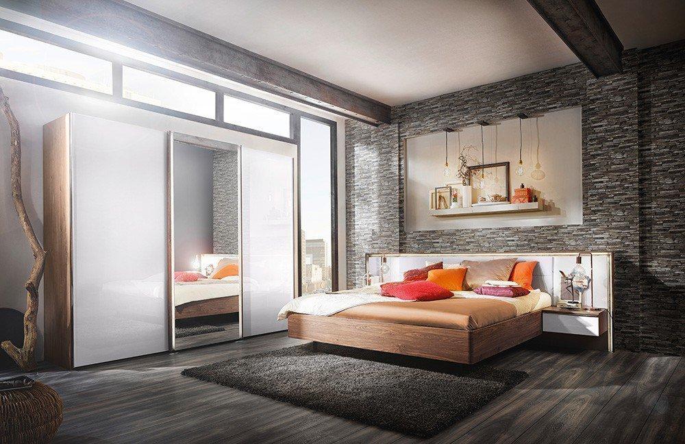 Nolte Möbel Ipanema Schlafzimmer Macadamia-Nussbaum/ Weißglas| Möbel ...