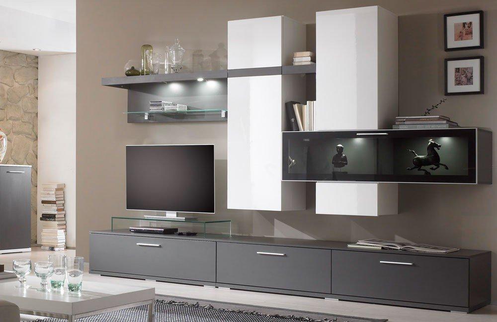 Wunderbar Innovation Von Inter Furn   Wohnwand Graphit/ Weiß Hochglanz
