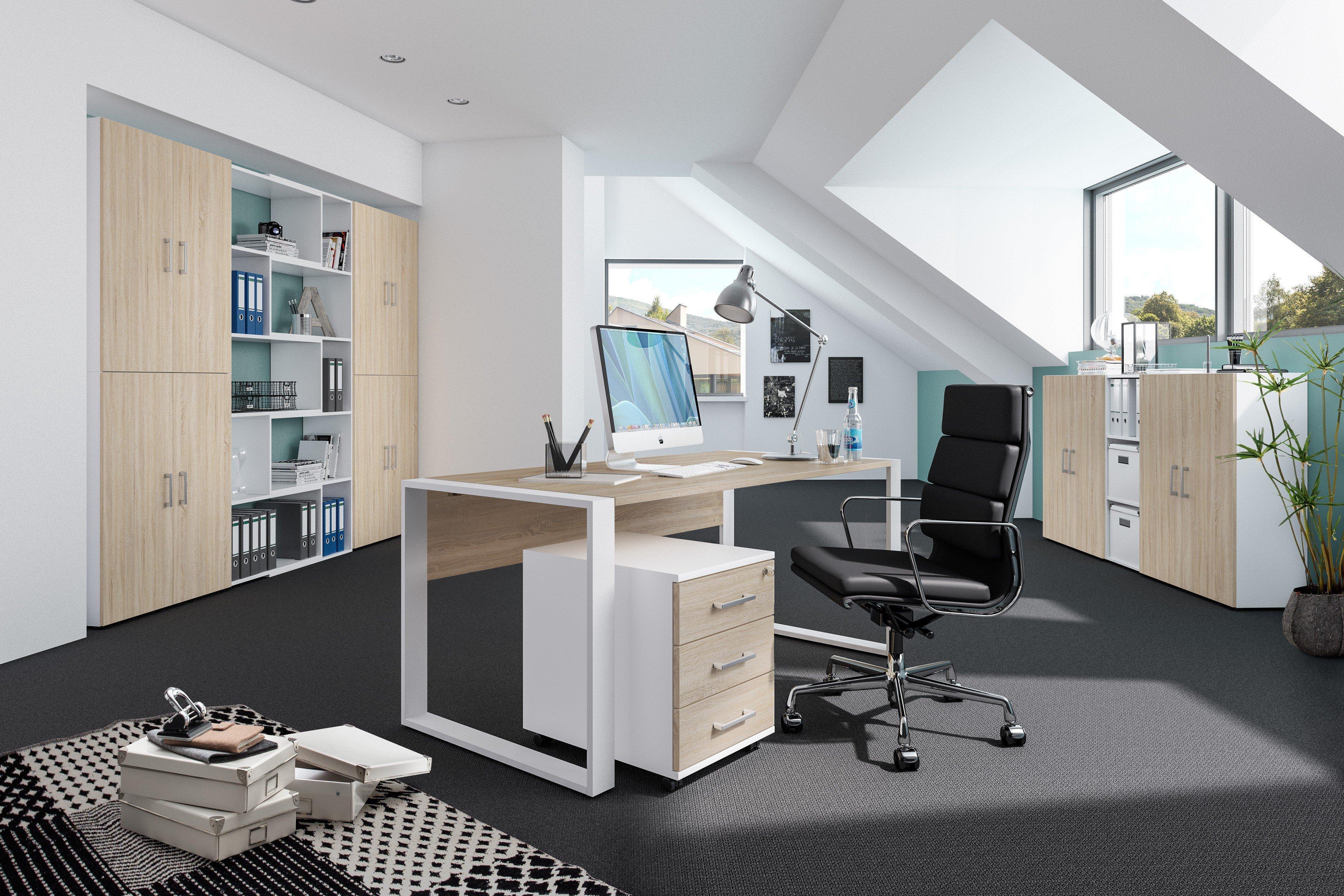 Rohr Direct Office Schreibtisch Set Eiche Weiss Mobel Letz Ihr