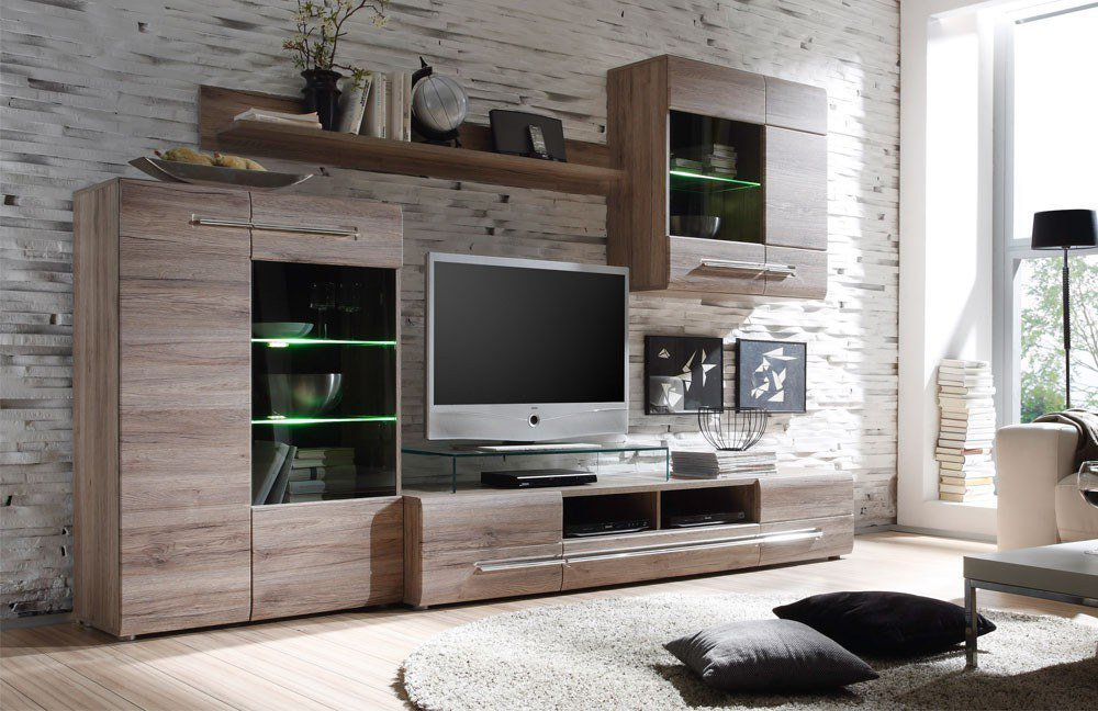 wohnwand bora 1327 945 97 san remo eiche dunkel von inter. Black Bedroom Furniture Sets. Home Design Ideas