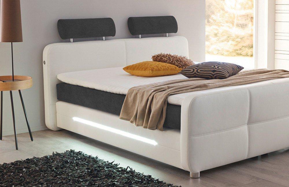 jockenh fer gina boxspringbett in wei mit beleuchtung. Black Bedroom Furniture Sets. Home Design Ideas