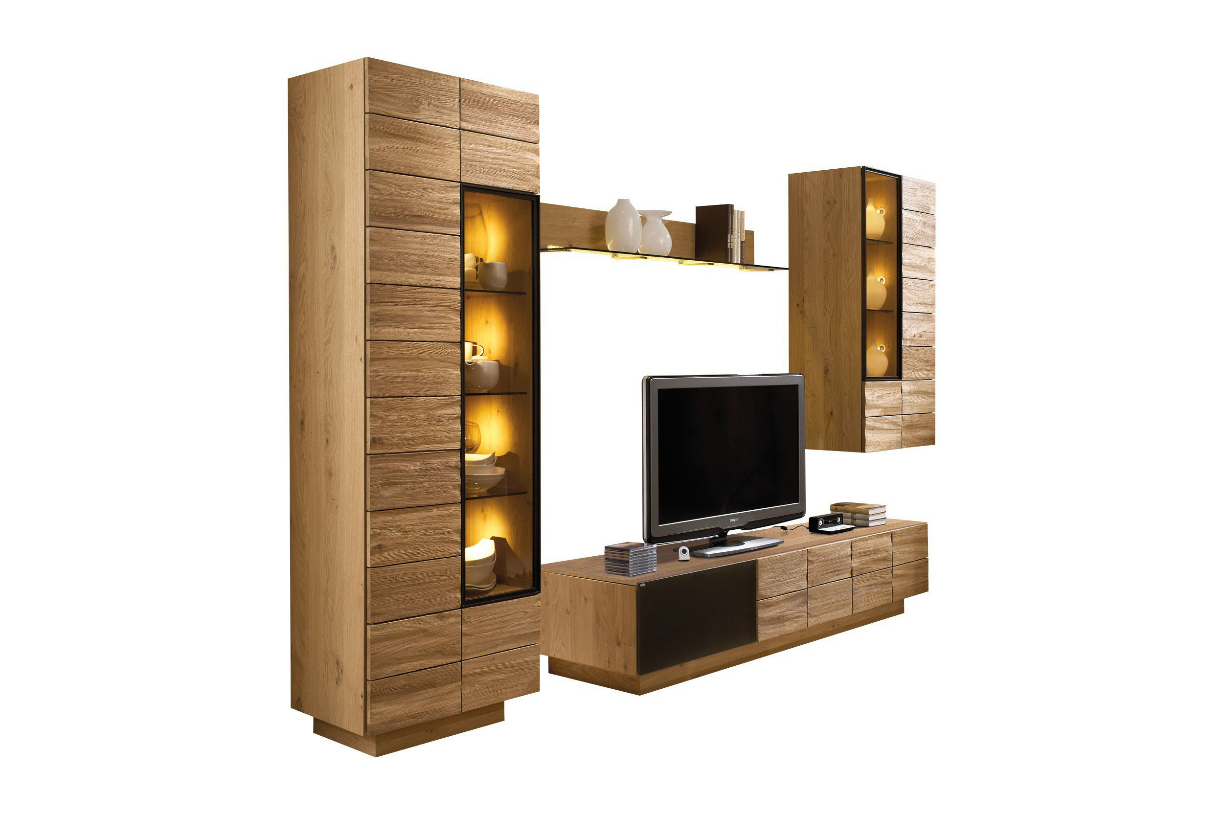 voglauer wohnwand v montana 173 wildeiche braun m bel. Black Bedroom Furniture Sets. Home Design Ideas
