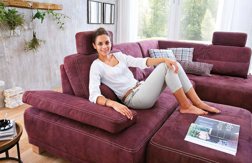 sit more caprice eckgarnitur aubergine m bel letz ihr online shop. Black Bedroom Furniture Sets. Home Design Ideas