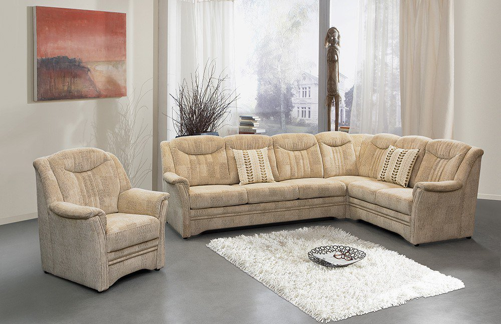 pm oelsa zwickau ecksofa in beige gemustert m bel letz. Black Bedroom Furniture Sets. Home Design Ideas