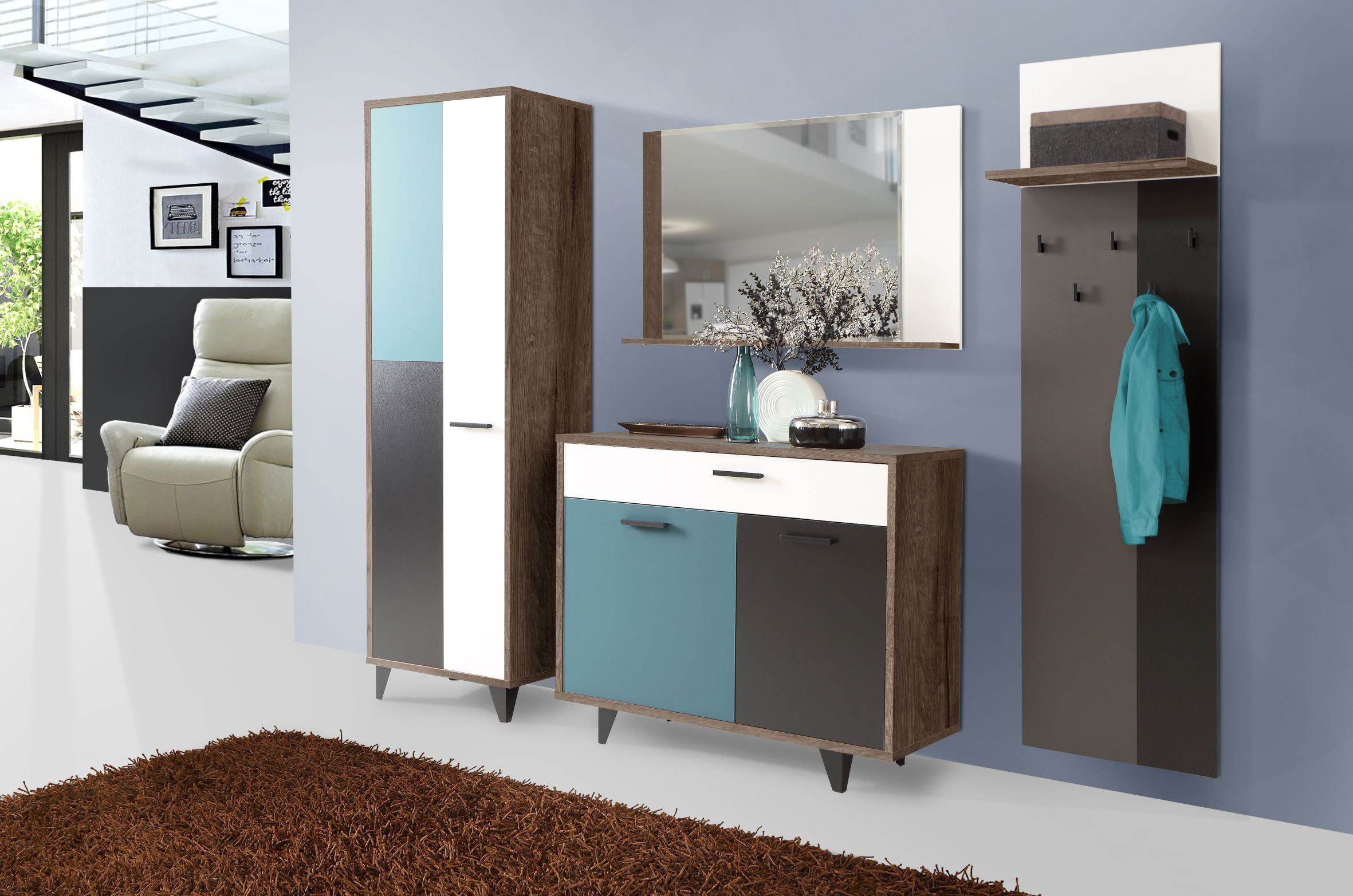 garderobe raven bunt von forte m bel letz ihr online shop. Black Bedroom Furniture Sets. Home Design Ideas
