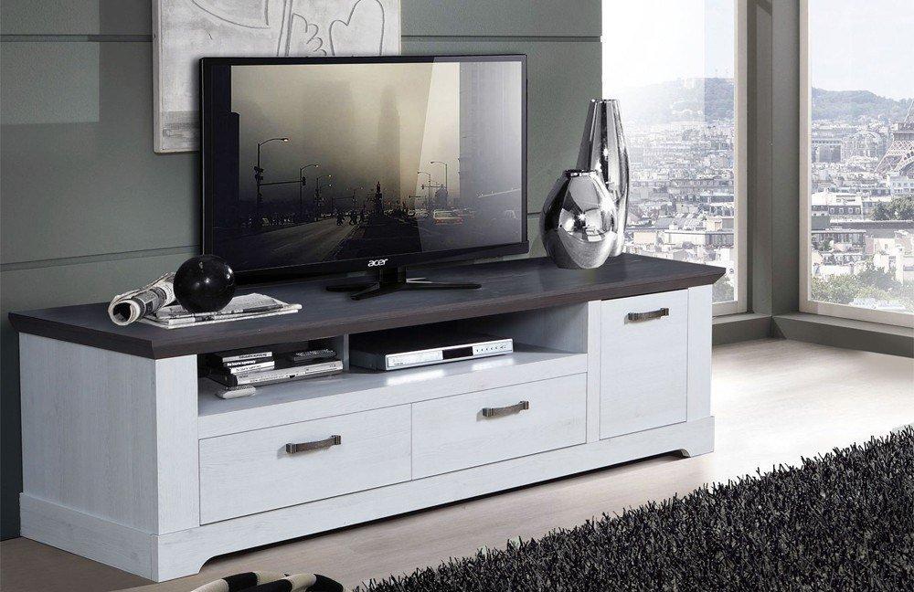 lowboard garland schneeeiche kombinert mit pinie grau von forte m bel letz ihr online shop. Black Bedroom Furniture Sets. Home Design Ideas