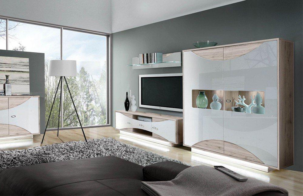 wohnwand wave sandeiche kombiniert mit wei hochglanz von forte m bel letz ihr online shop. Black Bedroom Furniture Sets. Home Design Ideas