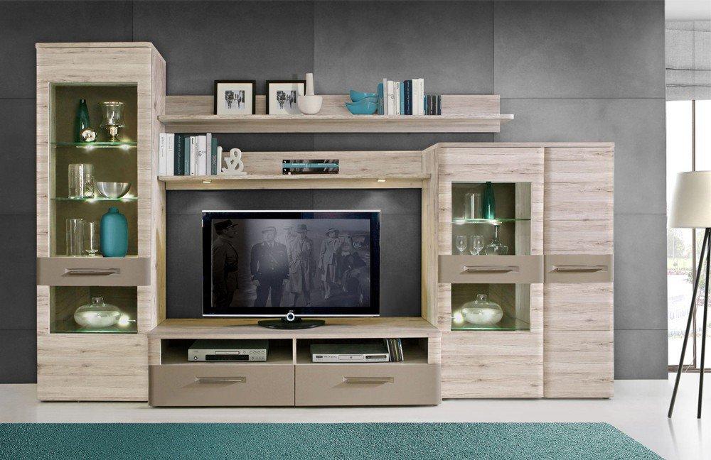 wohnwand riva 2 sandeiche basalt von forte m bel letz. Black Bedroom Furniture Sets. Home Design Ideas