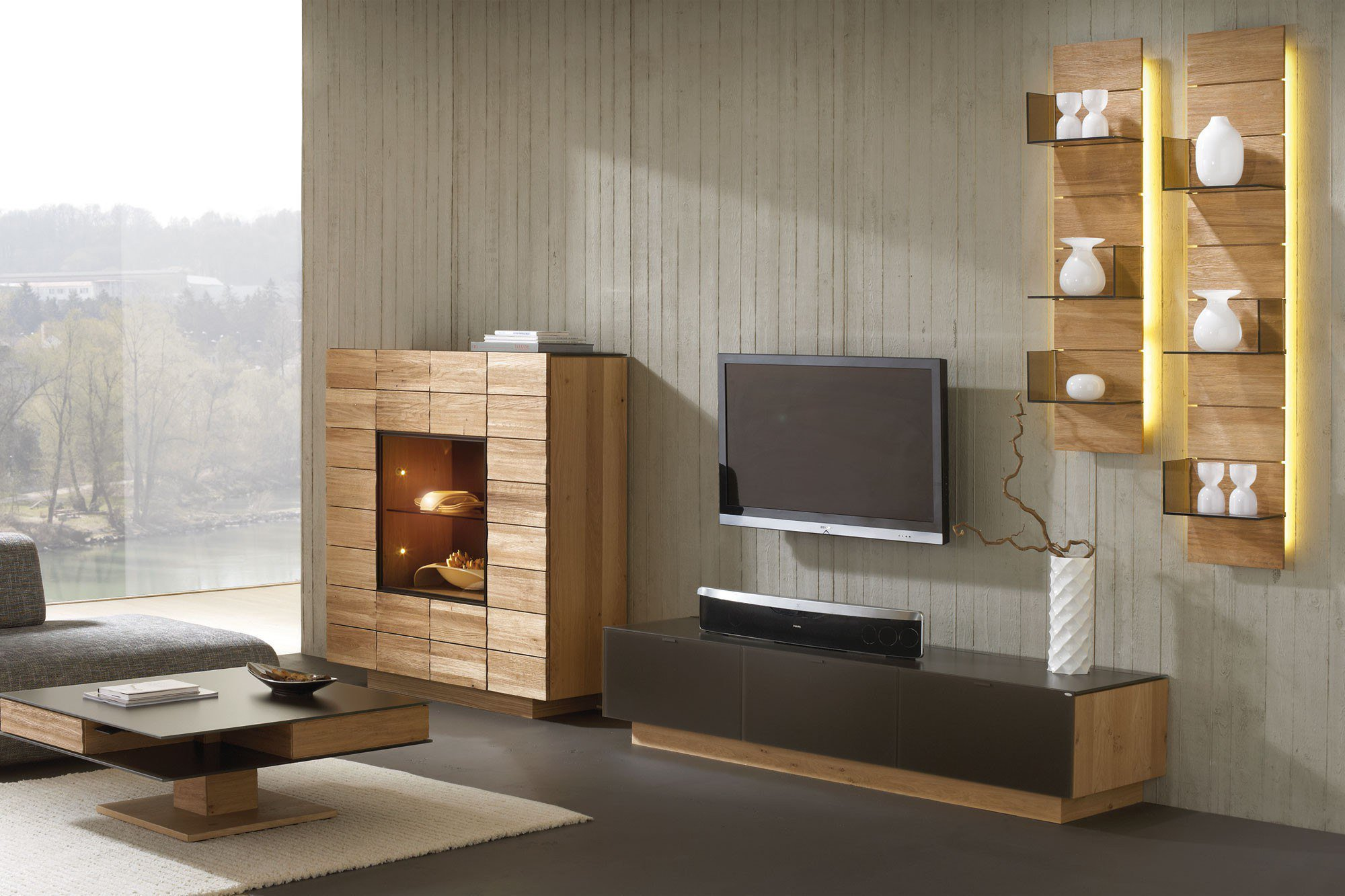 voglauer wohnwand v montana 285 braun wildeiche m bel. Black Bedroom Furniture Sets. Home Design Ideas