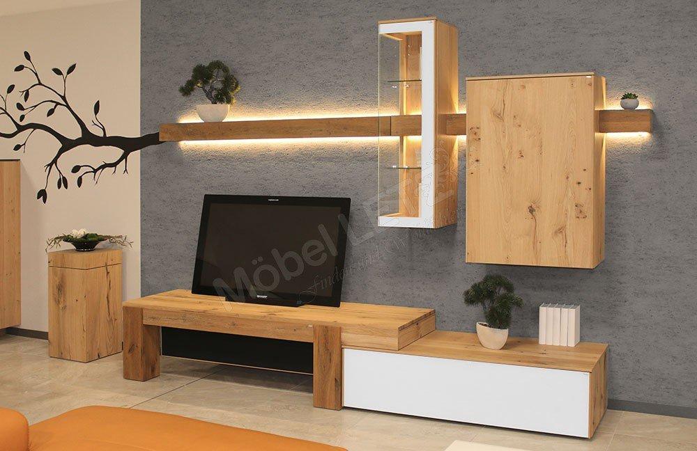 voglauer wohnwand v solid 257 wildeiche optiwhite m bel letz ihr online shop. Black Bedroom Furniture Sets. Home Design Ideas