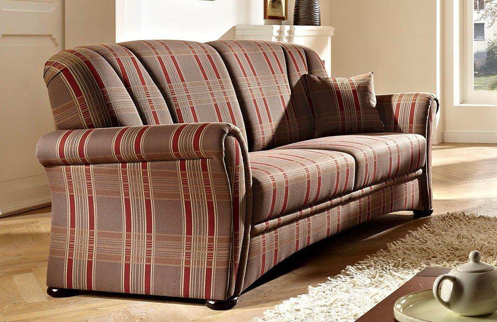 schr no berlin sofa gespann braun rot kariert m bel letz ihr online shop. Black Bedroom Furniture Sets. Home Design Ideas