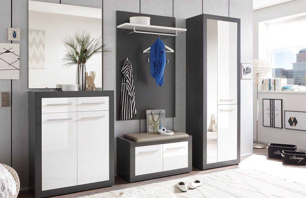 garderobe kolibri grau wei von first look m bel letz ihr online shop. Black Bedroom Furniture Sets. Home Design Ideas