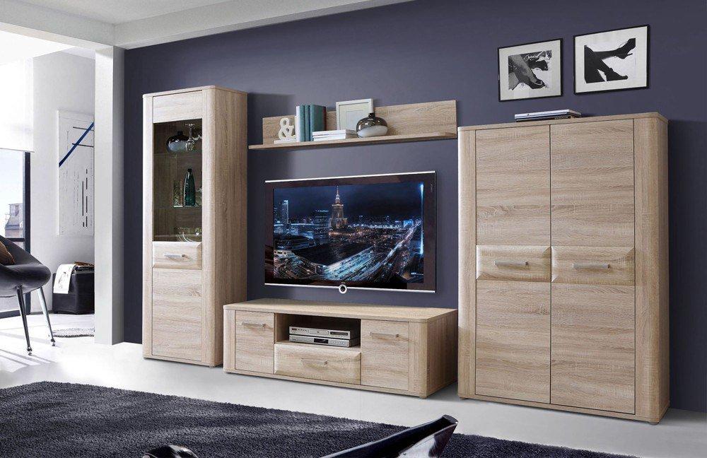 wohnwand spencer sonoma eiche von forte m bel letz ihr online shop. Black Bedroom Furniture Sets. Home Design Ideas