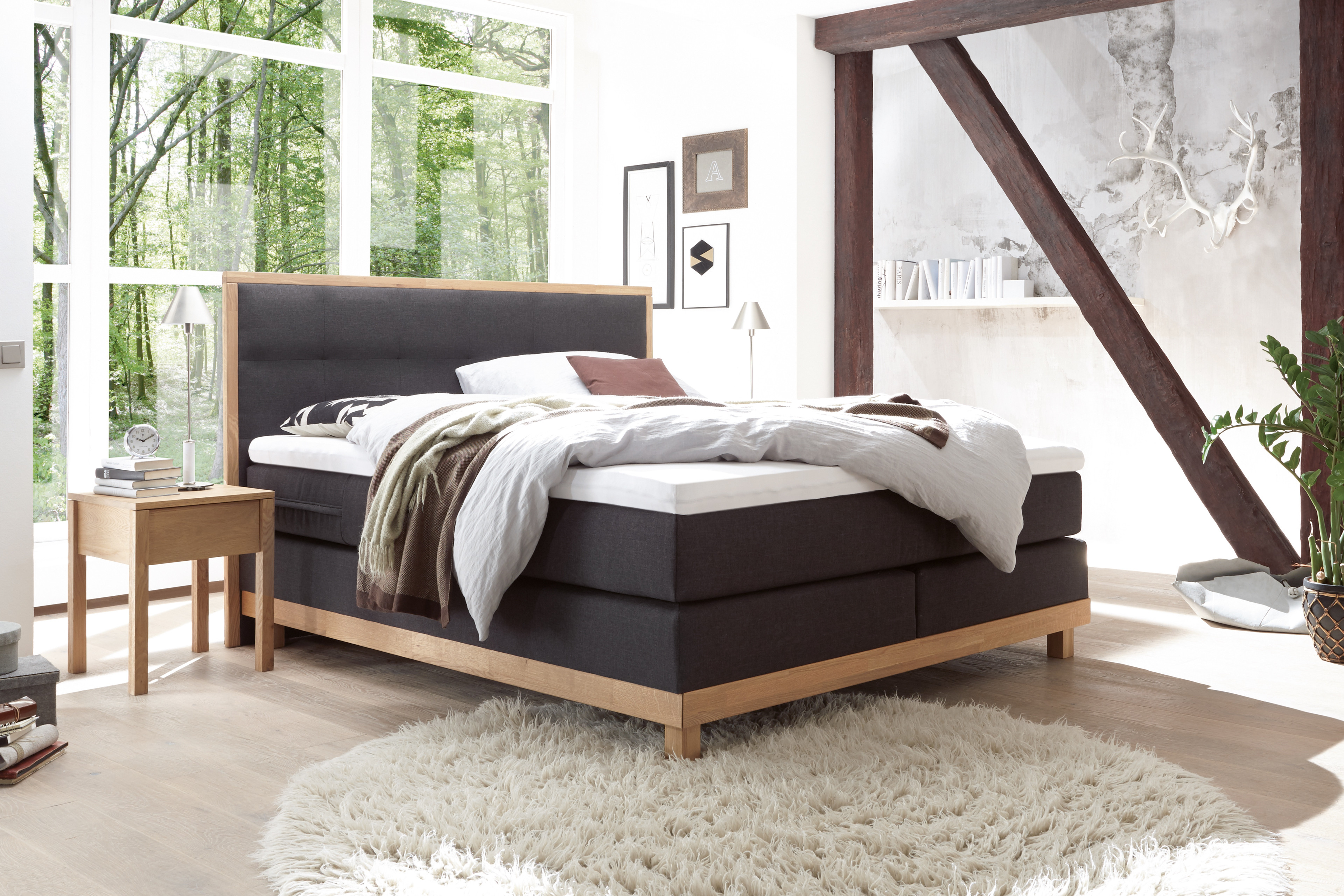 hasena pronto chalet boxspringbett anthrazit m bel letz ihr online shop. Black Bedroom Furniture Sets. Home Design Ideas